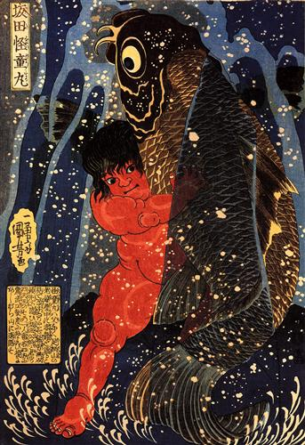 Sakata Kintoki struggling with a Huge Carp in a Waterfall by Utagawa Kuniyoshi